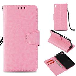 Retro Phantom Smooth PU Leather Wallet Holster Case for Sony Xperia E5 - Pink