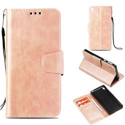 Retro Phantom Smooth PU Leather Wallet Holster Case for Sony Xperia E5 - Rose Gold