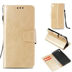 Retro Phantom Smooth PU Leather Wallet Holster Case for Sony Xperia E5 - Champagne