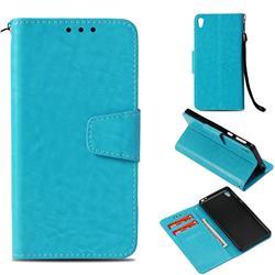 Retro Phantom Smooth PU Leather Wallet Holster Case for Sony Xperia E5 - Sky Blue