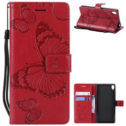 Embossing 3D Butterfly Leather Wallet Case for Sony Xperia E5 - Red