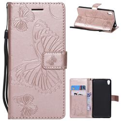 Embossing 3D Butterfly Leather Wallet Case for Sony Xperia E5 - Rose Gold