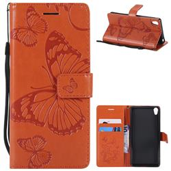 Embossing 3D Butterfly Leather Wallet Case for Sony Xperia E5 - Orange