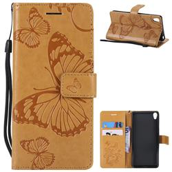 Embossing 3D Butterfly Leather Wallet Case for Sony Xperia E5 - Yellow