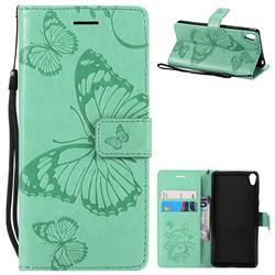 Embossing 3D Butterfly Leather Wallet Case for Sony Xperia E5 - Green
