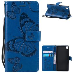 Embossing 3D Butterfly Leather Wallet Case for Sony Xperia E5 - Blue