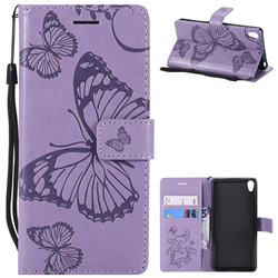 Embossing 3D Butterfly Leather Wallet Case for Sony Xperia E5 - Purple