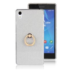 Luxury Soft TPU Glitter Back Ring Cover with 360 Rotate Finger Holder Buckle for Sony Xperia Z2 D6502 D6503 D6543 - White