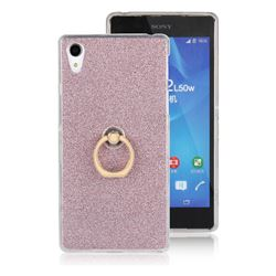 Luxury Soft TPU Glitter Back Ring Cover with 360 Rotate Finger Holder Buckle for Sony Xperia Z2 D6502 D6503 D6543 - Pink