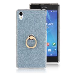 Luxury Soft TPU Glitter Back Ring Cover with 360 Rotate Finger Holder Buckle for Sony Xperia Z2 D6502 D6503 D6543 - Blue