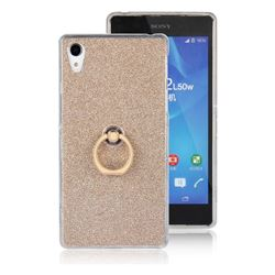 Luxury Soft TPU Glitter Back Ring Cover with 360 Rotate Finger Holder Buckle for Sony Xperia Z2 D6502 D6503 D6543 - Golden