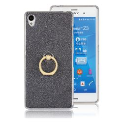 Luxury Soft TPU Glitter Back Ring Cover with 360 Rotate Finger Holder Buckle for Sony Xperia Z3 - Black