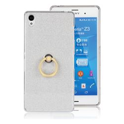 Luxury Soft TPU Glitter Back Ring Cover with 360 Rotate Finger Holder Buckle for Sony Xperia Z3 - White