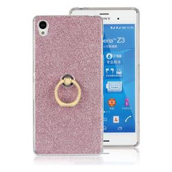 Luxury Soft TPU Glitter Back Ring Cover with 360 Rotate Finger Holder Buckle for Sony Xperia Z3 - Pink