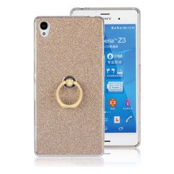 Luxury Soft TPU Glitter Back Ring Cover with 360 Rotate Finger Holder Buckle for Sony Xperia Z3 - Golden