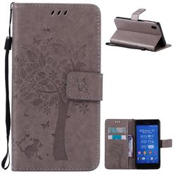 Embossing Butterfly Tree Leather Wallet Case for Sony Xperia Z3 - Grey