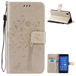 Embossing Butterfly Tree Leather Wallet Case for Sony Xperia Z3 - Champagne