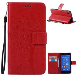 Embossing Butterfly Tree Leather Wallet Case for Sony Xperia Z3 - Red