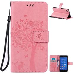 Embossing Butterfly Tree Leather Wallet Case for Sony Xperia Z3 - Pink