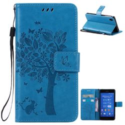 Embossing Butterfly Tree Leather Wallet Case for Sony Xperia Z3 - Blue
