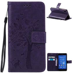 Embossing Butterfly Tree Leather Wallet Case for Sony Xperia Z3 - Purple