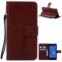 Embossing Butterfly Tree Leather Wallet Case for Sony Xperia Z3 - Brown