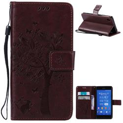 Embossing Butterfly Tree Leather Wallet Case for Sony Xperia Z3 - Coffee