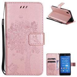 Embossing Butterfly Tree Leather Wallet Case for Sony Xperia Z3 - Rose Pink