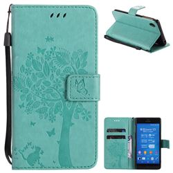 Embossing Butterfly Tree Leather Wallet Case for Sony Xperia Z3 - Cyan