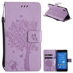 Embossing Butterfly Tree Leather Wallet Case for Sony Xperia Z3 - Violet