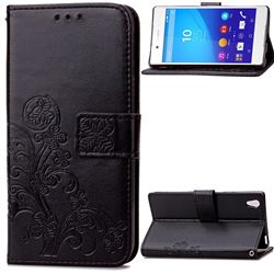 Embossing Imprint Four-Leaf Clover Leather Wallet Case for Sony Xperia Z3 - Black