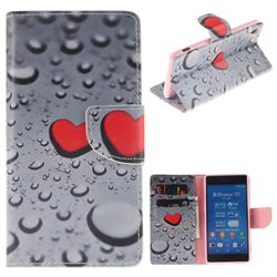 Heart Raindrop PU Leather Wallet Case for Sony Xperia Z3