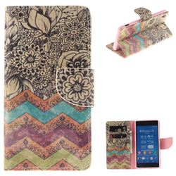 Wave Flower PU Leather Wallet Case for Sony Xperia Z3
