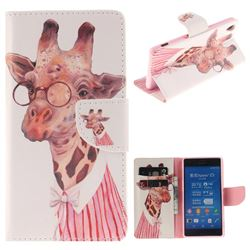 Pink Giraffe PU Leather Wallet Case for Sony Xperia Z3