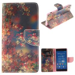 Colored Flowers PU Leather Wallet Case for Sony Xperia Z3