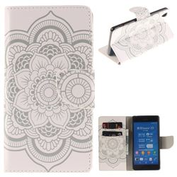 White Flowers PU Leather Wallet Case for Sony Xperia Z3