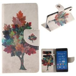 Colored Tree PU Leather Wallet Case for Sony Xperia Z3