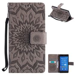 Embossing Sunflower Leather Wallet Case for Sony Xperia Z3 - Gray