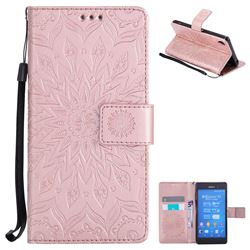 Embossing Sunflower Leather Wallet Case for Sony Xperia Z3 - Rose Gold