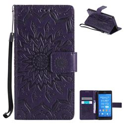 Embossing Sunflower Leather Wallet Case for Sony Xperia Z3 - Purple