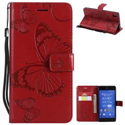 Embossing 3D Butterfly Leather Wallet Case for Sony Xperia Z3 - Red