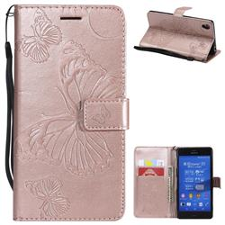 Embossing 3D Butterfly Leather Wallet Case for Sony Xperia Z3 - Rose Gold