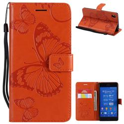Embossing 3D Butterfly Leather Wallet Case for Sony Xperia Z3 - Orange