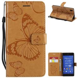 Embossing 3D Butterfly Leather Wallet Case for Sony Xperia Z3 - Yellow