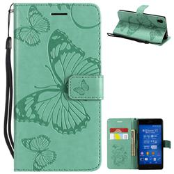 Embossing 3D Butterfly Leather Wallet Case for Sony Xperia Z3 - Green