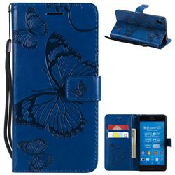 Embossing 3D Butterfly Leather Wallet Case for Sony Xperia Z3 - Blue