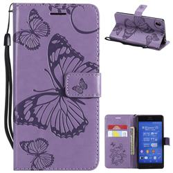 Embossing 3D Butterfly Leather Wallet Case for Sony Xperia Z3 - Purple