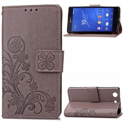 Embossing Imprint Four-Leaf Clover Leather Wallet Case for Sony Xperia Z3 Compact - Gray