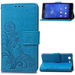 Embossing Imprint Four-Leaf Clover Leather Wallet Case for Sony Xperia Z3 Compact - Blue