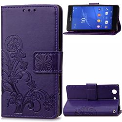 Embossing Imprint Four-Leaf Clover Leather Wallet Case for Sony Xperia Z3 Compact - Purple